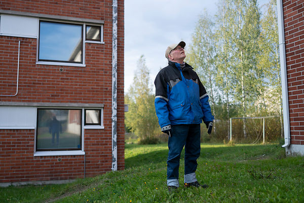 Jari Ronkainen, former property manager of the local vocational school inspects the empty dorms. Petäjävesi.