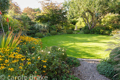 Sunlight spreads across the circular lawn in the back garden framed with and old apple tree, rudbeckias, grasses and clipped ...