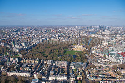 Aerial view of Belgravia  and Buckingham Palace, London. Belgrave Mews South, Belgrave Square, Belgravia, Buckingham Palace, ...