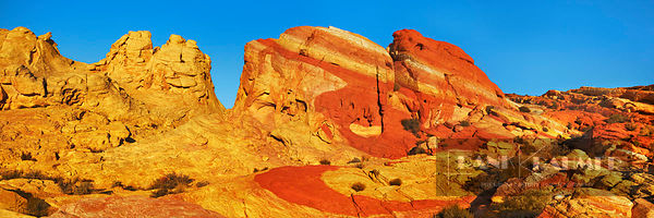 Erosion landscape in Valley of Fire - North America, USA, Nevada, Clark, Valley Of Fire, Rainbow Vista (Valley Of Fire State ...