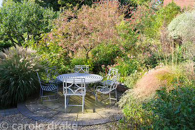 Seating area in the back garden framed with Miscanthus sinensis 'Yakushima Dwarf',  pink berried Sorbus rosea 'Rosiness' and ...