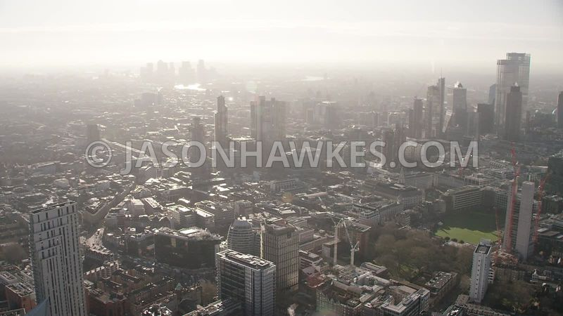 Aerial footage of the City of London, Old Street Station,  Old Street , EC1, East London, City Road, Hoxton, London.