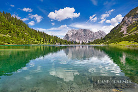 Mountain landscape at Seebensee with Zugspitze - Europe, Austria, Tyrol, Reutte, Ehrwald, Seebensee (Alps, Mieming Range) - d...