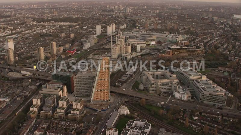 Helicopter aerial footage of London