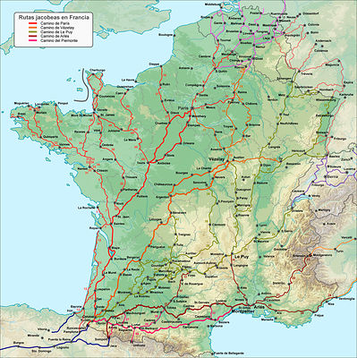 The routes to Santiago in France