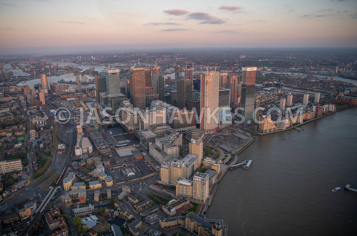 Aerial view of Canary Wharf at sunset, London . Bank Street, Cabot Square, Canary Riverside, canary wharf, Canary Wharf Pier,...