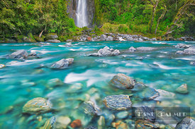 Waterfall Thunder Creek Falls and Haast River - Oceania, New Zealand, South Island, West Coast, Westland, Mount Aspiring Nati...
