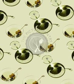 Classic Martini Cocktail with green olives on green background Pattern