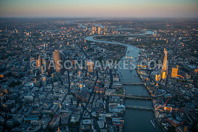 Aerial view from 2500ft over River Thames, City of LOndon, London.