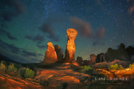 Erosion landscape and star sky at Garden of Eden - North America, USA, Utah, Grand, Arches National Park, Garden of Eden (Col...