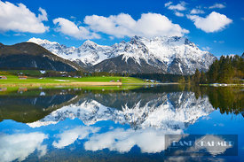 Mountain impression reflection Karwendekl in Schmalensee - Europe, Germany, Bavaria, Upper Bavaria, Garmisch-Partenkirchen, M...