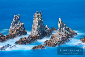 Cliff landscape with rock needles - Europe, Spain, Asturias, Eo-Navia, Luarca, Playa de La Gueirua (Bay of Biscay, Costa Verd...