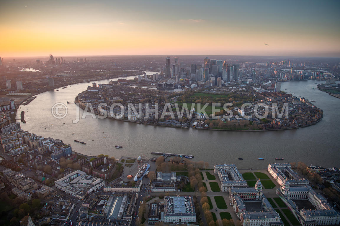 Aerial view of Greenwich, River Thames and Isle of Dogs, London .