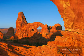 Erosion landscape Turret Arch seen through Northern Window - North America, USA, Utah, Grand, Arches National Park, Windows S...