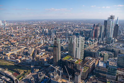 Aerial view of Spitalfields, City of London, London.