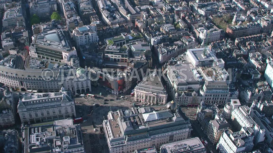 Aerial footage of Piccadilly Circus, London.