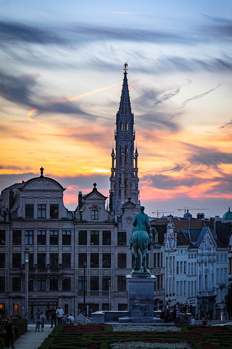 Brussels City Hall at sunset