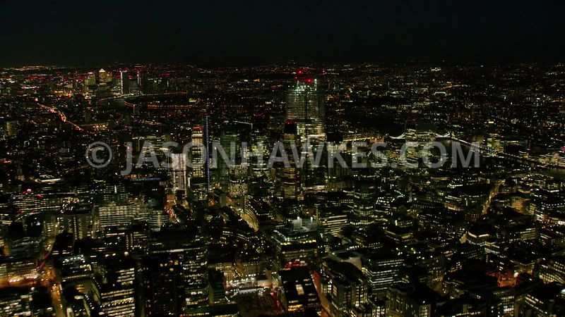 Night aerial footage clip of the City of London in 4K.