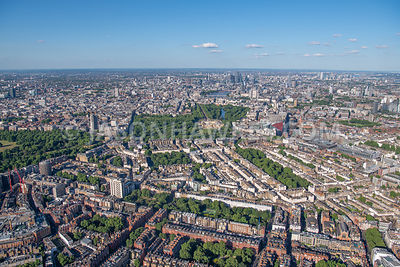 Aerial view of London, Belgravia with Eaton Square and Belgrave Square from Chelsea.