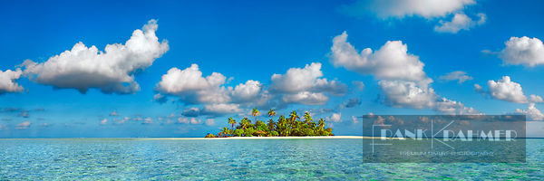 Tropical lagoon with palm island - Asia, Maldives, South Male Atoll, Mahaanaelhihuraa (Rihiveli) - digital