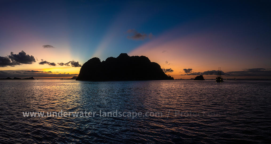 Panormic sunset at Raja Ampat
