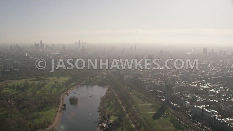 Aerial footage of Hyde Park, Belgravia, Knightsbridge,  London.