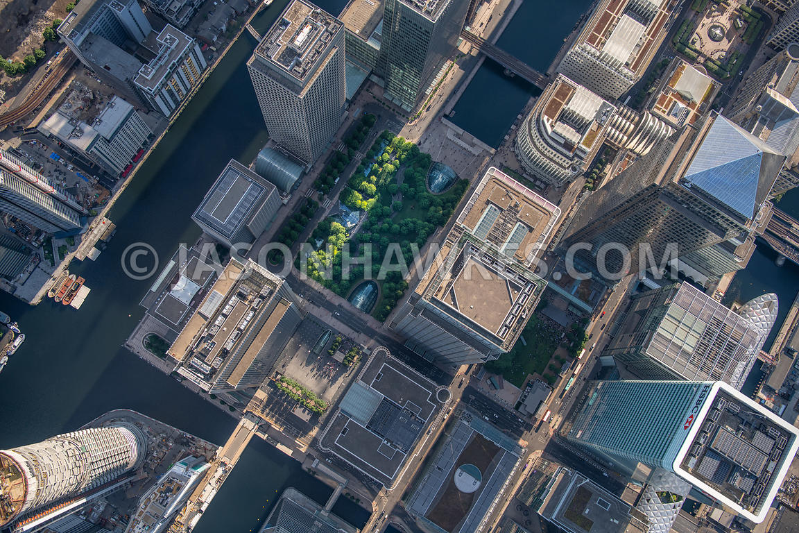Direct aerial view of Jubilee Park, Canary Wharf, London.