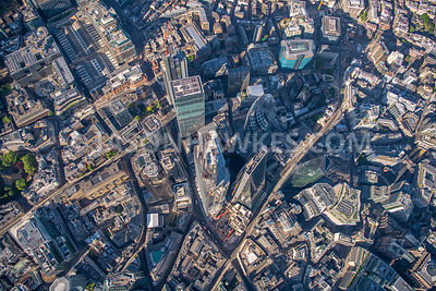 Direct aerial view of the City of London. 22 Bishopsgate, 30 St Mary's Axe, 100 Bishopsgate, Bishopsgate, City of London, dir...