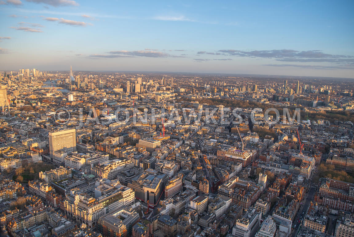 Aerial view of Mayfair, London.