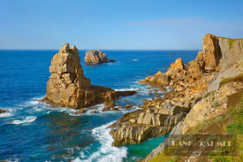 Cliff landscape with rock needle - Europe, Spain, Cantabria, Santander, Urros de Liencres (Bay of Biscay, Costa Verde) - digital