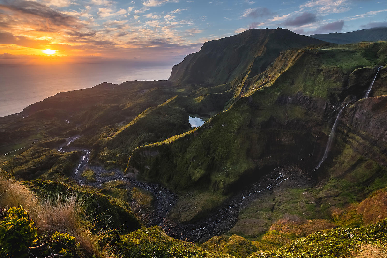 Sunset over Alagoinha, in Flores island, Azores