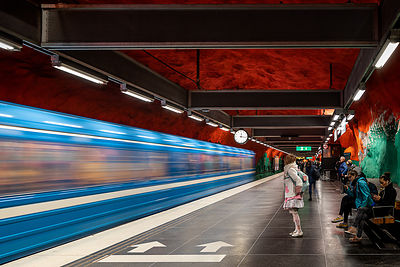 Pippi Longstocking takes the metro - Solna Centrum Station (Tunnelbana Stockholm)