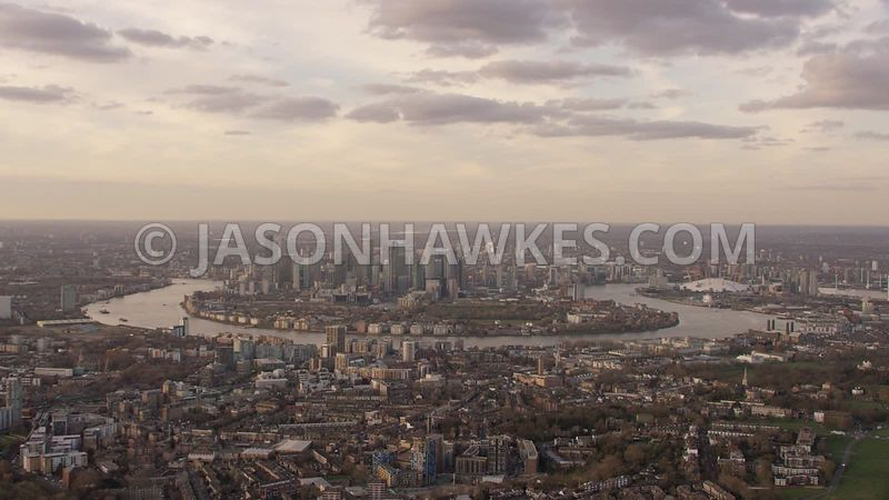 Aerial footage of Greenwich, London.