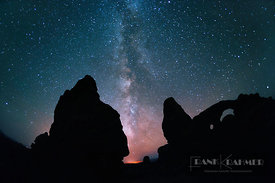 Erosion landscape and star sky at Turret Arch - North America, USA, Utah, Grand, Arches National Park, Windows Section, Turre...