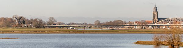 Cityview on Deventer and River IJsel - panorama