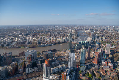 Nine Elms and Vauxhall, London.  Aerial view