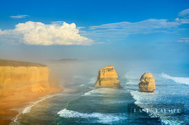 Coast landscape in sea fog at Gibson Beach - Australia, Australia, Victoria, Port Campbell, Gibson Beach (Great Ocean Road, P...