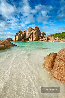 Rock formation at Anse Cocos - Africa, Seychelles, La Digue, Anse Cocos (Indian Ocean) - digital