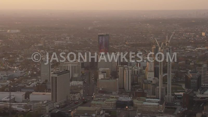 Aerial footage of Croydon at sunset, London.
