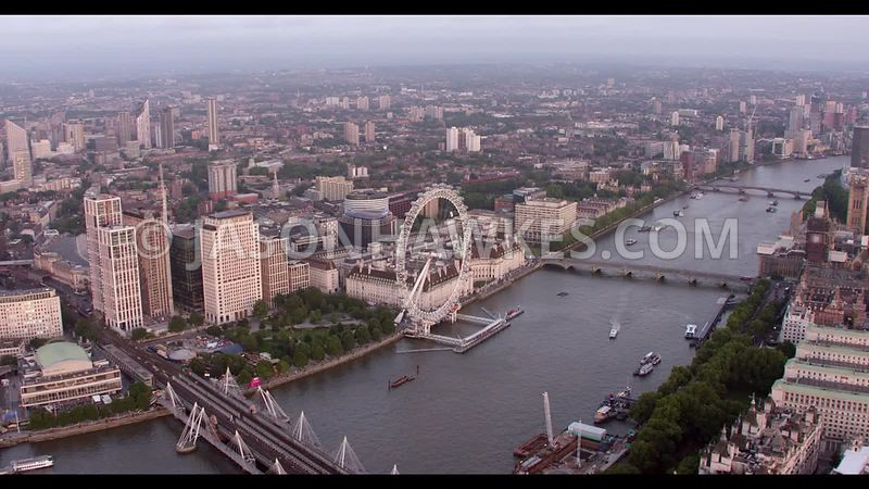 Aerial footage of River Thames and , London Eye , Nine Elms, London.