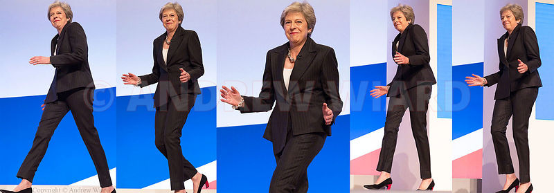 England, UK .3.10.2018. Birmingham . Dancing Queen Theresa May steps out to address the Conservative Party Conference ..