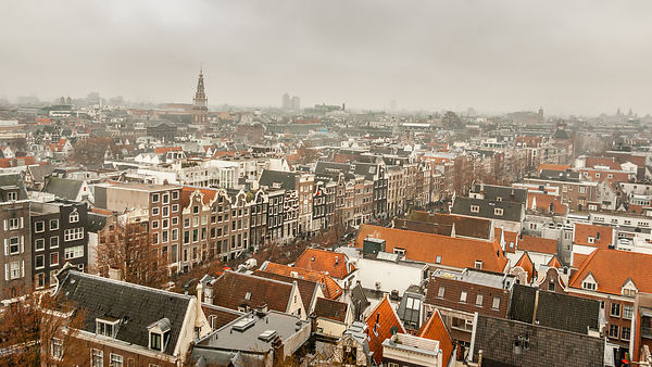 Arial view over Amsterdam from the top of the Old Church