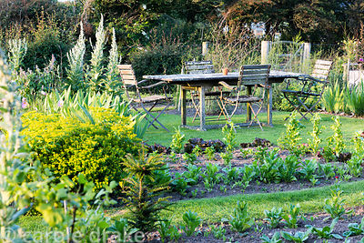 Dining area in the vegetable garden with lichen encrusted table and chairs at Sea View, Cornwall in June