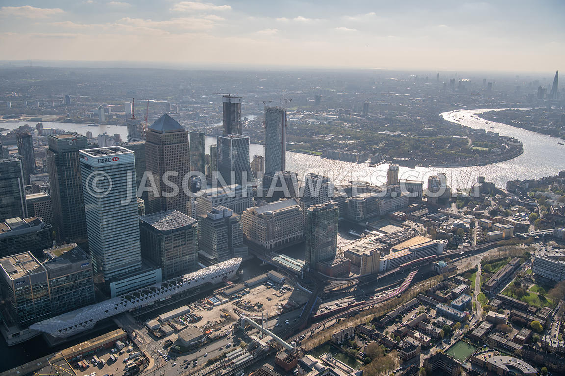 Aerial view of North Dock, Canary Wharf, London.