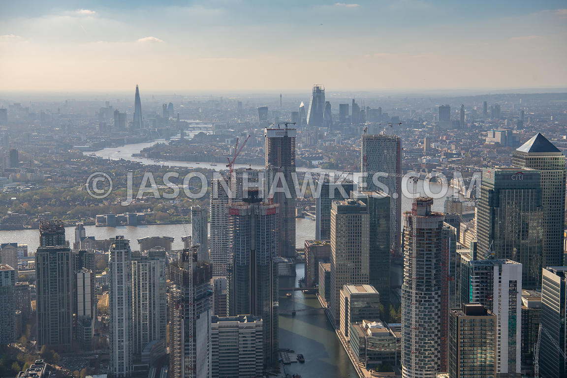 Aerial view of South Dock, Canary Wharf, London.
