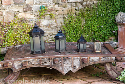 Line of lanterns. 24 Bude Street, Appledore, Devon, UK