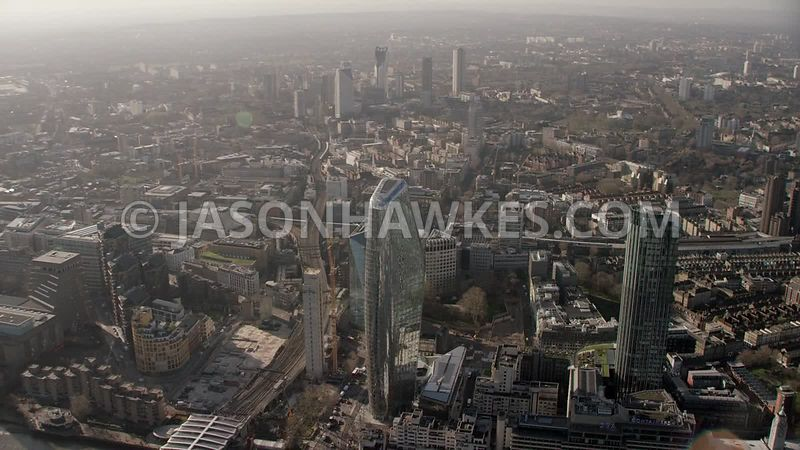 Aerial footage of Blackfriars, Southwark ,  The Borough, London.