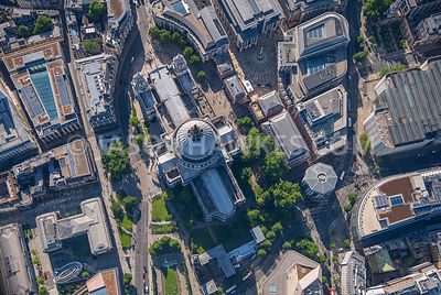 Aerial view of St. Paul's Cathedral, London.