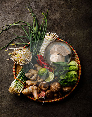 Chinese Asian foods Ingredients for cooking on dark background