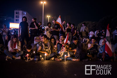 A family from Baalbek travelled to Beirut to block the Ring Road bridge near Downtown Beirut, as Lebanese people continue to ...